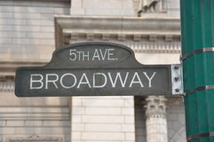Broadway. In 5th avenue sign Stock Photos