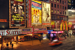 Broadway Theater District. Night photo Broadway Theater District with big billboards Royalty Free Stock Images
