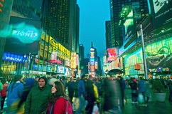 Broadway Times Square at night, New York. NEW YORK, MARCH 14, 2015: Times Square at night - HDR featuring busy Broadway with animated signs for the Lion King and Royalty Free Stock Photography