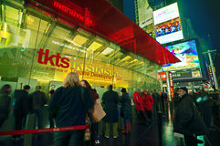 Broadway Times Square at night, New York. NEW YORK, MARCH 14, 2015: Times Square at night - HDR featuring the famous TKTS discount booth selling last-minute Royalty Free Stock Photography