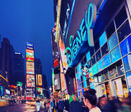 Broadway Times Square at night, New York. NEW YORK, MARCH 14, 2015: Times Square at night - HDR featuring the flagship Disney Store  and animated Broadway Royalty Free Stock Photo