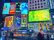 Broadway Times Square at night, New York. NEW YORK, MARCH 14, 2015: Times Square at night - HDR featuring the flagship McDonald's restaurant and lighted signs stock photography