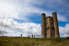 Broadway Tower. Cotswolds, UK on a summer's day. Wide angle shot giving large sky. Once home of William Morris royalty free stock photography