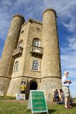 Broadway Tower and sign for nuclear bunker, Cotswold Way, England Royalty Free Stock Photo