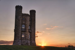 Broadway Tower at sunset Cotswolds, UK royalty free stock image