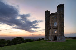 Broadway Tower with valley view, Cotswolds, UK. Broadway Tower with valley view after sunset Cotswolds, UK Stock Photography