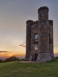 Broadway Tower with valley view at sunset Cotswold Stock Images