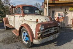 Old Dodge towing truck. Broadway, Virginia, USA- April 13, 2018: Old Dodge towing truck stock photos