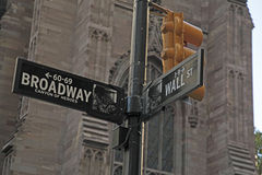 Broadway and Wall St. NYC Street Sign. Street sign in NYC shows Broadway also known as the Canyon Of Heroes and Wall St. in lower Manhattan stock photography