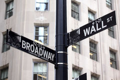 Broadway and Wall Street Signs Stock Photos