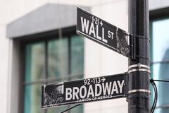Broadway and Wall Street Signs, Manhattan, New York Stock Photos