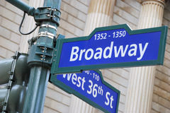 Broadway and West 36th Street sign Royalty Free Stock Images