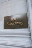 Broadway znak uliczny w Nowy Jork Zdjęcia Royalty Free