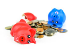 Broaken piggybank with coins Stock Photography