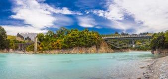 Broar över den Rakaia floden Arkivfoto
