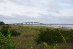 Broar över fjärden och våtmarker royaltyfri bild