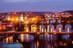 Broar av Prague, Tjeckien Royaltyfria Bilder