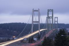 Broar för Commutters loppfram- och tillbakaTacoma trångt pass Tacoma Arkivfoto
