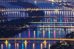 Broar på Danube River i Wien Royaltyfri Fotografi
