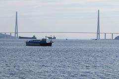 Broar Vladivostok primorsky snowstorm för krai Ryssland Arkivbilder