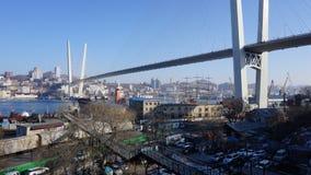 Broar Vladivostok primorsky snowstorm för krai Ryssland Arkivfoton