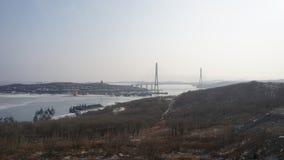 Broar Vladivostok primorsky snowstorm för krai Ryssland Royaltyfri Fotografi