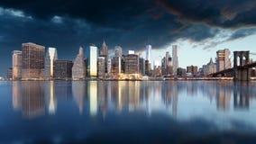 brobrooklyn ny horisont york Royaltyfri Foto