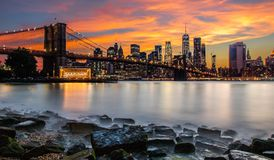 brobrooklyn stad New York Arkivbild