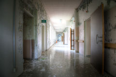 Broby Sanatorium. A corridor in the old building Broby Sanatorium in Sweden Royalty Free Stock Image