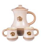 Broc en céramique et deux tasses Photos stock