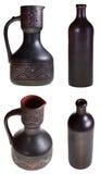 Broc et bouteille en céramique géorgiens de poterie Photo stock