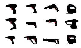 A broca, gabarito considerou e outras ferramentas elétricas Vetor Imagens de Stock Royalty Free