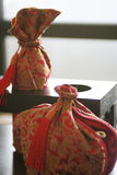 Brocade teapot package. Chinese traditional style brocade teapot package Stock Photo