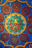 Brocado de Zhuang, tela china con los estampados de plores Imágenes de archivo libres de regalías