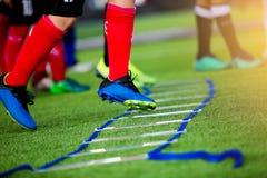 Brocas do adicionador para o treinamento do futebol Exercícios das brocas da escada para fotografia de stock