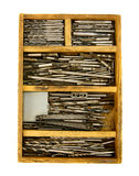 Brocas do funcionamento do vintage no fundo branco imagem de stock
