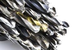Brocas velhas do aço no fundo branco imagem de stock