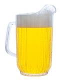 Brocca di birra su bianco Fotografia Stock