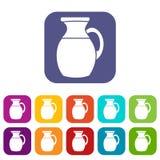 Brocca di icone del latte messe Immagine Stock
