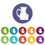 Brocca di icone stabilite del latte Fotografia Stock Libera da Diritti