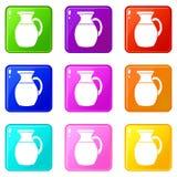 Brocca di insieme delle icone 9 del latte Fotografia Stock Libera da Diritti