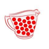 Brocca di latte con il vettore rosso dei punti Immagini Stock Libere da Diritti