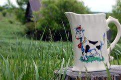 Brocca di latte fresca del ` s dell'agricoltore Fotografia Stock Libera da Diritti