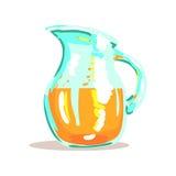 Brocca di vetro con l'illustrazione arancio schiacciata fresca di Juice Drink Cool Style Bright Immagine Stock Libera da Diritti