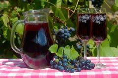 Brocca di vetro con vino rosso ed il vetro di vino sulla tavola immagini stock