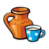 Brocca e tazza di latte Fotografie Stock