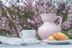 Brocca rosa della porcellana, tazza bianca e forno su una tavola dei bordi bianchi contro lo sfondo di un cespuglio di fioritura Fotografia Stock
