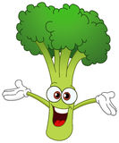 Broccoli. Cheerful cartoon broccoli raising his hands stock illustration