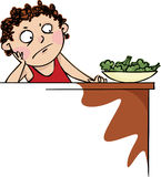 Broccoli. Boy did not want to eat broccoli Stock Photo