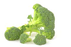 Broccoli. Against white background (Brassica oleracea var italica Royalty Free Stock Photography